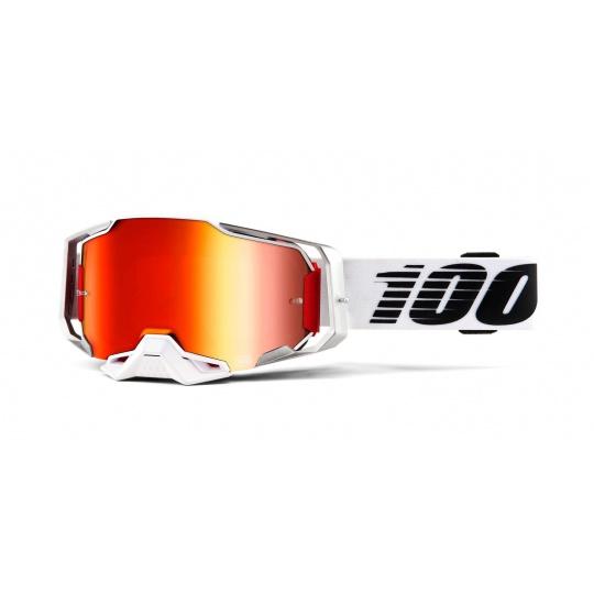 brýle ARMEGA Lightsaber, 100% (červené chrom plexi s čepy pro slídy)