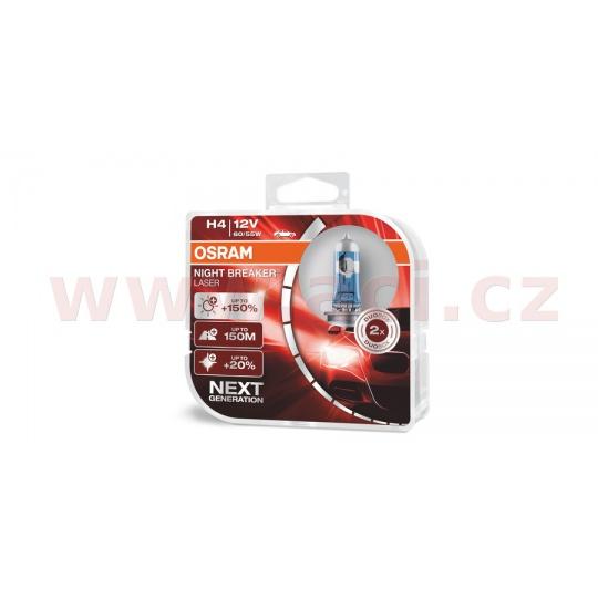 žárovky H4 60/55W (patice P43t) OSRAM NIGHT BREAKER® LASER  (2 ks v boxu)