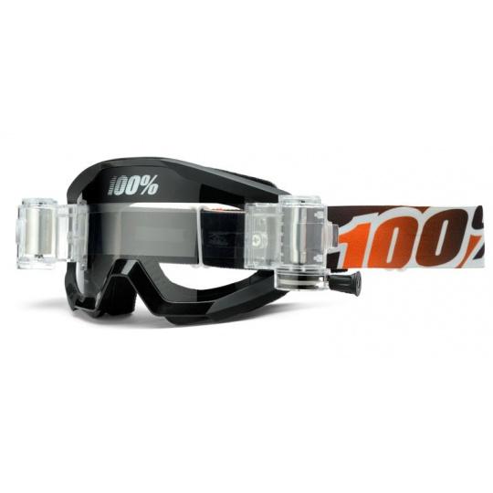 100% brýle motokrosové Strata Roll off Black/Mandarina - čirá skla
