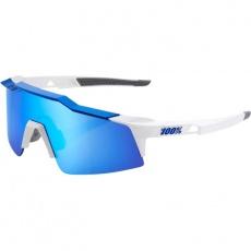 Speedcraft SL - Matte White/Metallic Blue - HiPER Blue Multilayer Mirror Lens