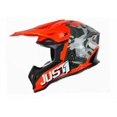 Moto přilba JUST1 J39 KINETIC camo šedo/červeno/fluo oranžová