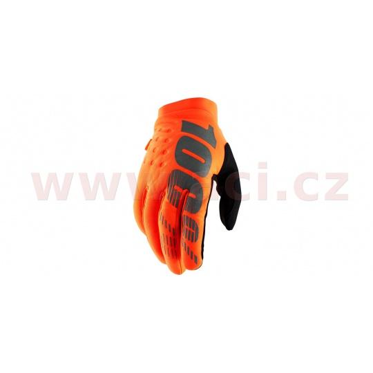 rukavice BRISKER, 100% (fluo oranžová/černá)