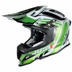 Moto přilba JUST1 J12 FLAME zeleno/bílá