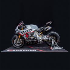 textilní koberec pod motocykl RACE XL, OXFORD (rozměr 240 x 103 cm, splňující předpisy FIM)